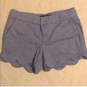 Blue Rain Scallop Hem Shorts